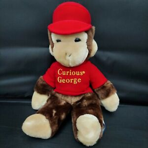 "Vintage Eden Toys Curious George Monkey 11"" Plush Red Shirt Hat Stuffed Toy 1984"