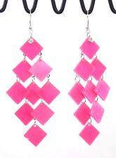 "Huge cascade waterfall dangle drop earrings pink lucite squares 3.5"" pierce"