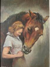 Old Original Equestrian  Oil Painting of a Lady and a Horse, signed, by E. Arpin