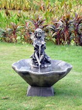 Flower Fairy and Bowl Water Fountain Feature Solar pump Battery Timer LED light