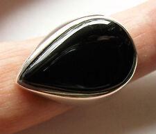 massiver Onyx-Ring, 925er Sil., Gr.58
