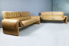 Pair of 1980's mid century modern Swiss leather sofas by De Sede