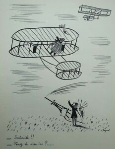 PEYNET Raymond : Imbécile volant - GRAVURE humoristique signée  #1943