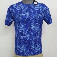 Bugatchi Classic Blue Abstract Leaf Crew Neck S/S Men's Shirt NWT $95 Choose Sz