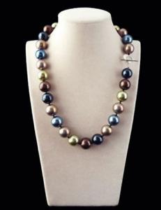 Pretty Huge 12mm Genuine Multicolor Round South Sea Shell Pearl Necklace 18''