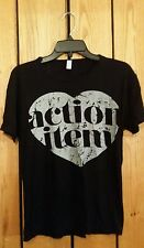 "Womens Size M  American Apparel Short Sleeve Stretch Black ""action item"" T-shirt"