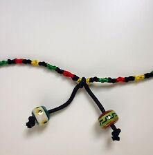 Fußkettchen Seide geknüpft bunt schwarz mit Perlen zum knoten 35 cm