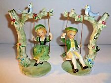 Vintage Napcoware Children On Tree Swing Figurine Napco Figurines Japan Pair