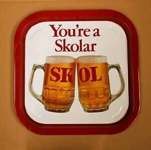 SKOL You're a Skolar Vintage Advertising Pub Bar Lager Beer drinks tray