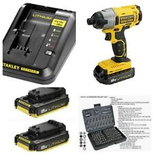 STANLEY FATMAX 18V IMPACT DRIVER X2 BATTERIES FAST CHARGER IN HEAVY DUTY CASE**F