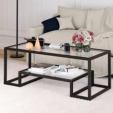 Coffee Table Black Bronze Glass Top Shelf Storage Furniture Center Living Room