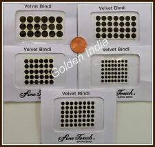 Lot of BLACK Velvet Dot Bindi Tattoo Sticker many Sizes Body Art India Jewelry
