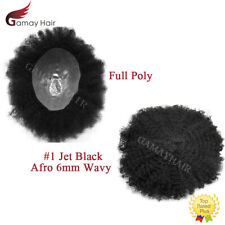 Afro Curly Mens Toupee All Skin African American Hairpiece Poly System Jet Black