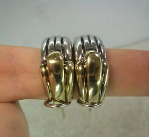 Pair of Vintage GABRIEL 14ct Gold & Solid Silver Chunky Earrings 21 grams