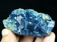 110g WOW!!! Beauty Rare Blue Cube Fluorite Crystal Mineral Specimen/China