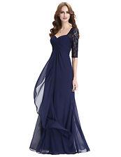 2017 Half Sleeves Long Chiffon Gown Formal Evening Prom Bridesmaid Maxi Dresses