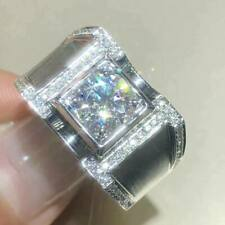 3 Ct Round Cut Moissanite Solitaire Men'S Engagement Ring 14K White Gold Finish