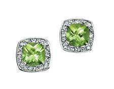 9ct White Gold Green Peridot & Diamond 8mm Square Studs Earrings Gift Boxed
