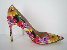 MANOLO BLAHNIK Fabric Colorful Floral Pointy Toe Heels Pumps 11 41 Italy EUC
