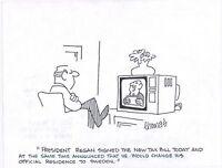 Fred Thomas Signed Original Gag Panel Original Comic Art Cartoon