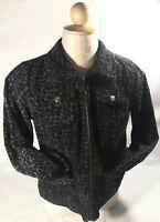CJ Banks Womens Printed Corduroy Shirt Jacket Color Black/White  Sz S Small