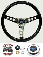 """1978-1991 Ford pickup steering wheel BLUE OVAL GLOSSY GRIP 13 1/2"""" Grant"""