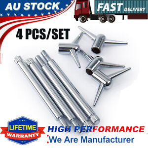 """Chrome Valve Cover Deluxe T-Bar Wing Nuts Bolts Studs 1/4""""-20 For Ford Chevy V8"""