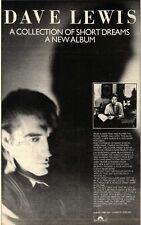 16/12/78PN30 ADVERT: DAVE LEWIS ALBUM A COLLECTION 0F SHORT DREAMS 10X7