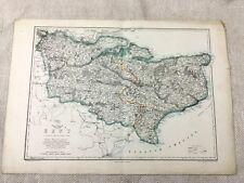 1858 Antique Map Kent County England 19th Century Old Hand Coloured