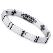 Keramik Edelstahl Armband Armkette Schmuck Liebe Freundschaft Weiß Damen Herren