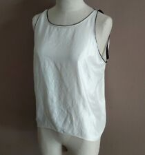 Helmut Lang For Intermix Women's P White Black High Low Tank Shirt Back Pleating