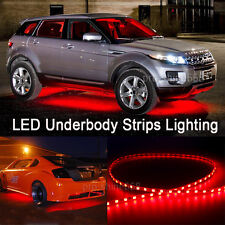 Newest 4pcs Red LED Strip Under Car Underglow Underbody System Neon Light Kit