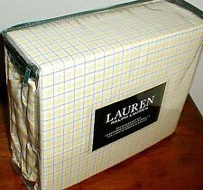RALPH LAUREN PLAID / CHECK YELLOW BLUE WHITE 4 PC. XDP QUEEN SHEET SET