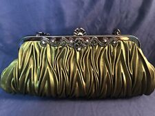 Green Silk Evening Bag Purse Clutch Shoulder Bag