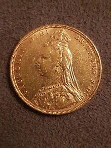 1892 Gold Sovereign Victoria Jubilee Head From Coin Collection Stored in Tissue