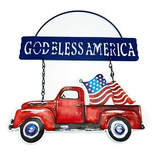 USA Truck Hanging Metal GOD BLESS AMERICA Door SIGN Flag 4th July Farmhouse Chic