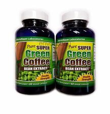 2x PURE SUPER GREEN COFFEE BEAN EXTRACT 60 VEGGIE CAPSULES DOUBLE STRENGTH 800mg