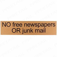 GOLD NO JUNK MAIL/NEWSPAPER LETTERBOX SIGN Self Adhesive Sticker Decal Door Post
