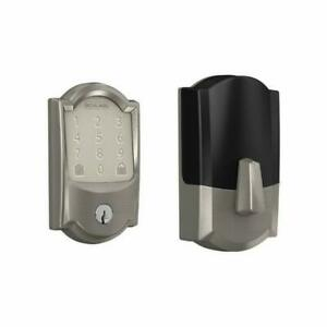 Schlage Encode Smart WiFi Deadbolt with Camelot Trim in Satin Nickel...