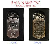 """RAJA"" Mens Arabic Name Necklace Tag - Birthday Wedding Ayatul Kursi Eid Gifts"