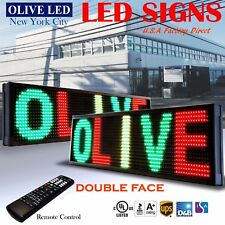"""Olive Led Sign 3C Rgy 2Face 12""""x31"""" Ir Programmable Scroll. Message Display Emc"""