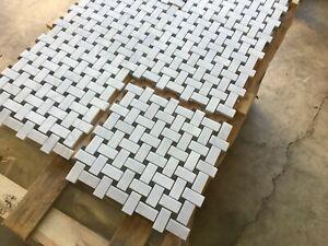Basketweave, Carrara Honed Marble Mosaic Tiles JOB LOT 100 SHEET  330x330X10mm