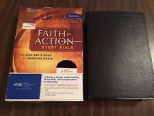 NIV 1984 Faith in Action Study Bible - Black Top Grain Genuine Leather - OOP 84