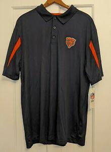 NWT NFL Team Apparel Size XL Chicago Bears Polo Shirt Navy Blue Orange TX3 Cool