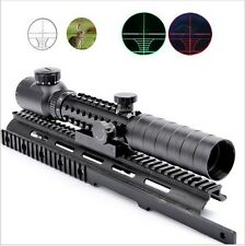 Airsoft 3-9x32EG Red/Green Crosshair Rifle Scope with Tri-rail and Scope Mount