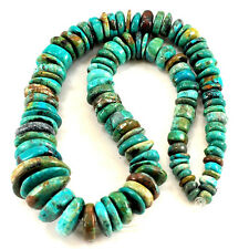 "6-20mm Large Natural Blue Hubei Turquoise Graduated Disc Beads 15""(TU649)d"