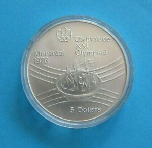 1976  Canada  $5  Dollars Montreal Olympics  Proof Like Silver Coin .925