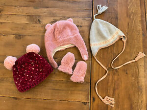 Baby Girl Carter's Pink Winter Hats and Mittens Size 0-9 months