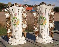 Pair  Antique Vieux Paris Porcelain Fan Flair Bridal Vases Flower Bouquet