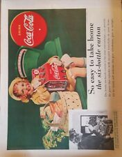 1938 Coca-Cola soda easy to take  6 bottle carton little girl grocery basket  ad